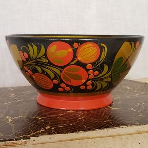 Russian Folk Art Khokhloma Ring Bowl Gypsy Style